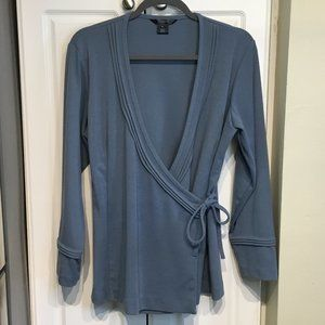 TravelSmith Slate Blue Crossover Top